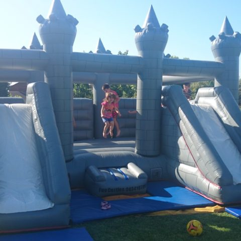 Grey dual slide jumping castle hire Geelong